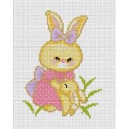 สินค้างานฝีมือ-ครอสติสลายกระต่ายกับลูกน้อย