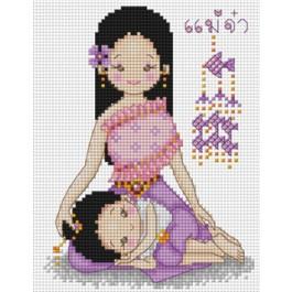สินค้างานฝีมือ-ครอสติสลายลูกรักกับแม่จ๋าชุดไทย
