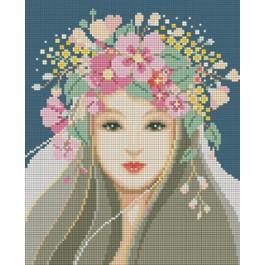 สินค้างานฝีมือ-ครอสติสลายเจ้าสาวมงกุฎดอกไม้