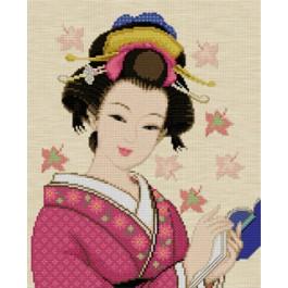 สินค้างานฝีมือ-ครอสติสลายสาวญี่ปุ่นอ่านหนังสือ