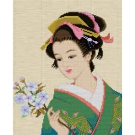 สินค้างานฝีมือ-ครอสติสลายสาวญี่ปุ่นถือช่อดอกไม้