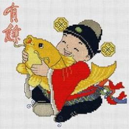 สินค้างานฝีมือ-ครอสติสลายเด็กจีนอุ้มปลาทอง - มีโชคตลอดกาล