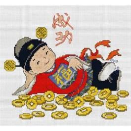 สินค้างานฝีมือ-ครอสติสลายเด็กจีนกอบเหรียญทอง - สำเร็จสมประสงค์