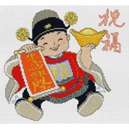 สินค้างานฝีมือ-ครอสติสลายเด็กจีนอวยพรส่งสุข - วาสนาสูงส่ง