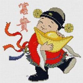 สินค้างานฝีมือ-ครอสติสลายเด็กจีนอุ้มตำลึงทอง - ร่ำรวยเงินทอง