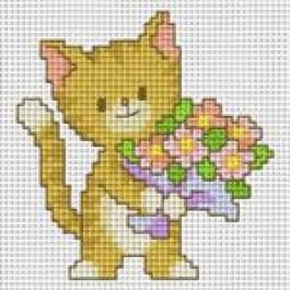 สินค้างานฝีมือ-ครอสติสลายเหมียวมอบดอกไม้