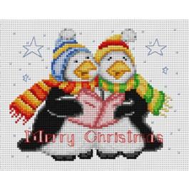 สินค้างานฝีมือ-ครอสติสลายคริสต์มาส - นกเพนกวิน