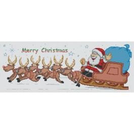 สินค้างานฝีมือ-ครอสติสลายซานตาคลอสนั่งรถเลื่อน