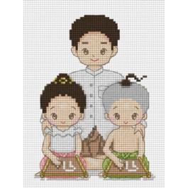 สินค้างานฝีมือ-ครอสติสลายหนูรักพ่อจ๋าชุดไทย