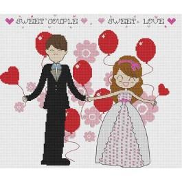 สินค้างานฝีมือ-ครอสติสลายSweet Couple Sweet Love