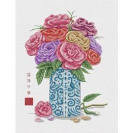 สินค้างานฝีมือ-ครอสติสลายแจกันดอกกุหลาบ