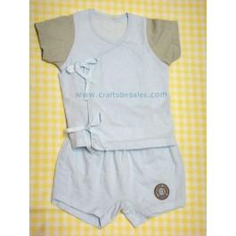 ชุดเสื้อเด็กพร้อมกางเกงสีฟ้า ผูกหน้า สำหรับเด็ก 3 เดือน ยี่ห้อ Absorba