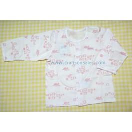 เสื้อแขนยาวติดกระดุมแป๊ะด้านหน้า สำหรับเด็ก 12 เดือน ลายฝูงแกะสีชมพู ยี่ห้อ Absorba