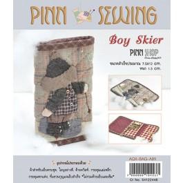 สินค้างานฝีมือ-ชุดคิทควิลท์ งานเย็บที่เก็บกุญแจ Boy Skier ( key holder pocket) Quilt
