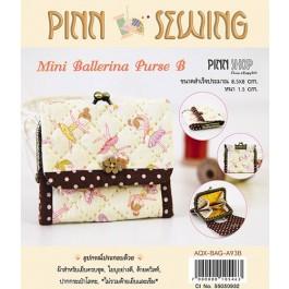 สินค้างานฝีมือ-ชุดคิทควิลท์ งานเย็บกระเป๋าบิดคลิ๊บ Mini Ballerina Purse B (Lt.Yellow) Quilt