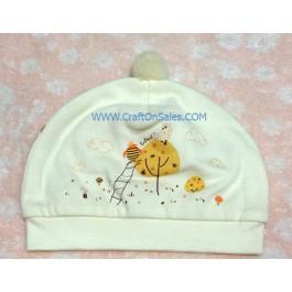 หมวกเด็กอ่อนแบบสวม ลายไก่มีจุก ยี่ห้อ Enfant Green Product เบอร์ 01 รอบศรีษะ 44 ซม. เนื้อผ้านุ่ม 70% bamboo 30% cotton