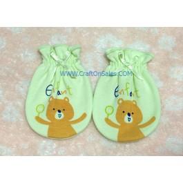 ถุงมือเด็กลายหมีสีเขียว ยี่ห้อ enfant