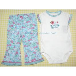 ชุดเด็ก export อายุ 9 เดือน เสื้อหมีพร้อมกางเกงลายดอกสีฟ้า
