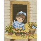 สินค้างานฝีมือ-ครอสติสลายเด็กหญิงข้างหน้าต่าง