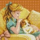 สินค้างานฝีมือ-ครอสติสลายเด็กหญิงหมูหยอง - กับเจ้าหงิงบนโซฟา
