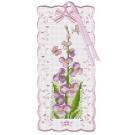 สินค้างานฝีมือ-ครอสติสลายบุ๊คมาร์ค ดอกไม้สีม่วงและผีเสื้อ