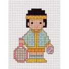 สินค้างานฝีมือ-ครอสติสลายถุงกระจุกกระจิก - หนูน้อยเล่นเทนนิส