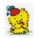 สินค้างานฝีมือ-ครอสติสลายพวงกุญแจน่ารัก ฟูฟูสีเหลือง (แพ็คคู่พวงกุญแจ)