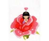 สินค้างานฝีมือ-ครอสติสลายเด็กในดอกกุหลาบชมพู