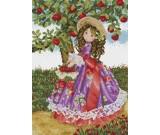 สินค้างานฝีมือ-ครอสติสลายสาวน้อยเก็บแอ๊ปเปิ้ล