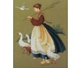 สินค้างานฝีมือ-ครอสติสลายหญิงสาวในฟาร์ม